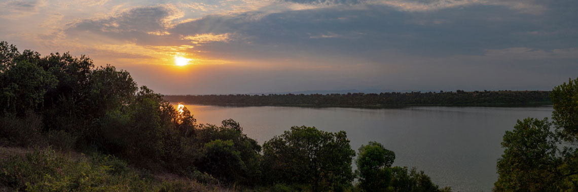 Sunset over lake George in Uganda